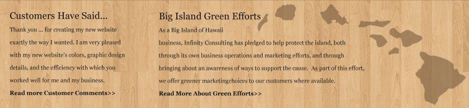 Big Island of Hawaii Green Initiative and Customer Testimonials